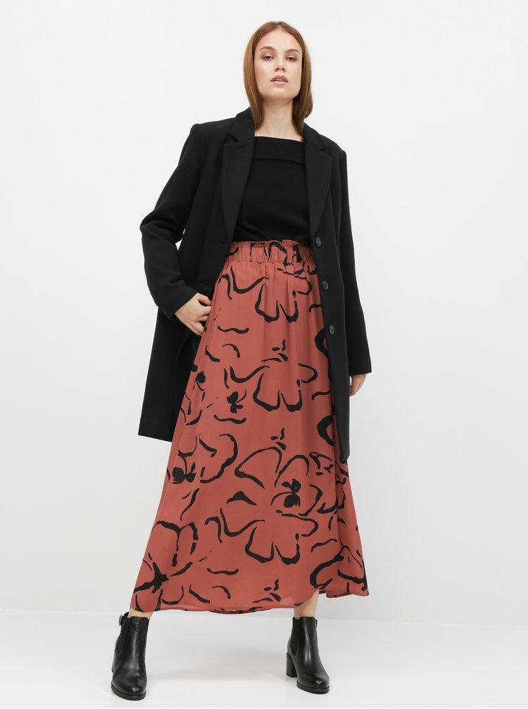 Hnědá vzorovaná maxi sukně VERO MODA Ilona