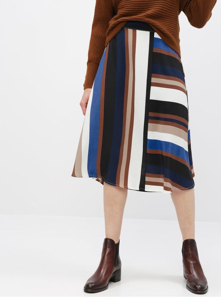 Modro-hnědá pruhovaná midi sukně ONLY Donna