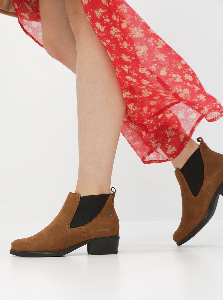 Hnedé semišové chelsea topánky OJJU
