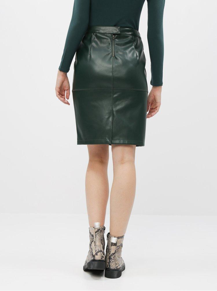 Tmavozelená koženková sukňa VILA Pen