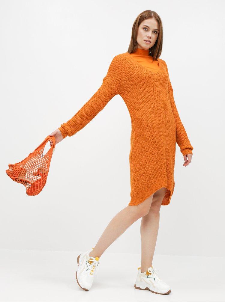 Oranžové svetrové šaty Jacqueline de Yong Tammy