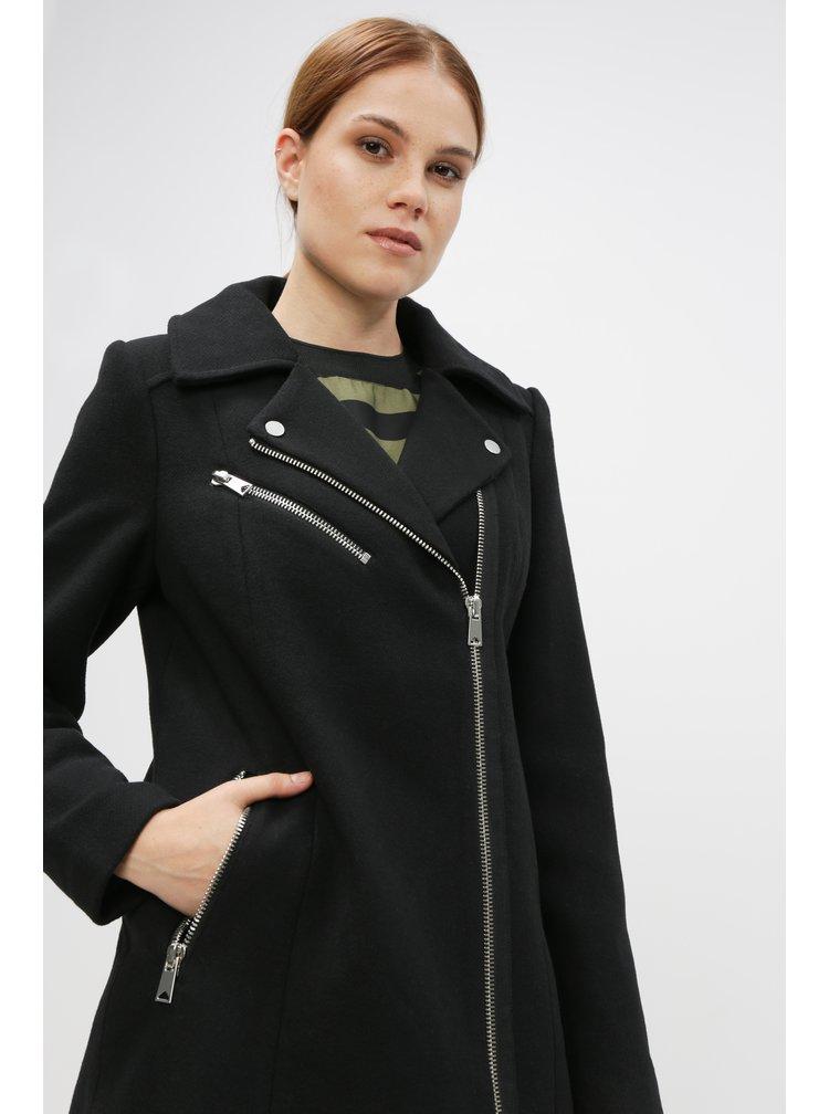 Čierny kabát s prímesou vlny VERO MODA Class