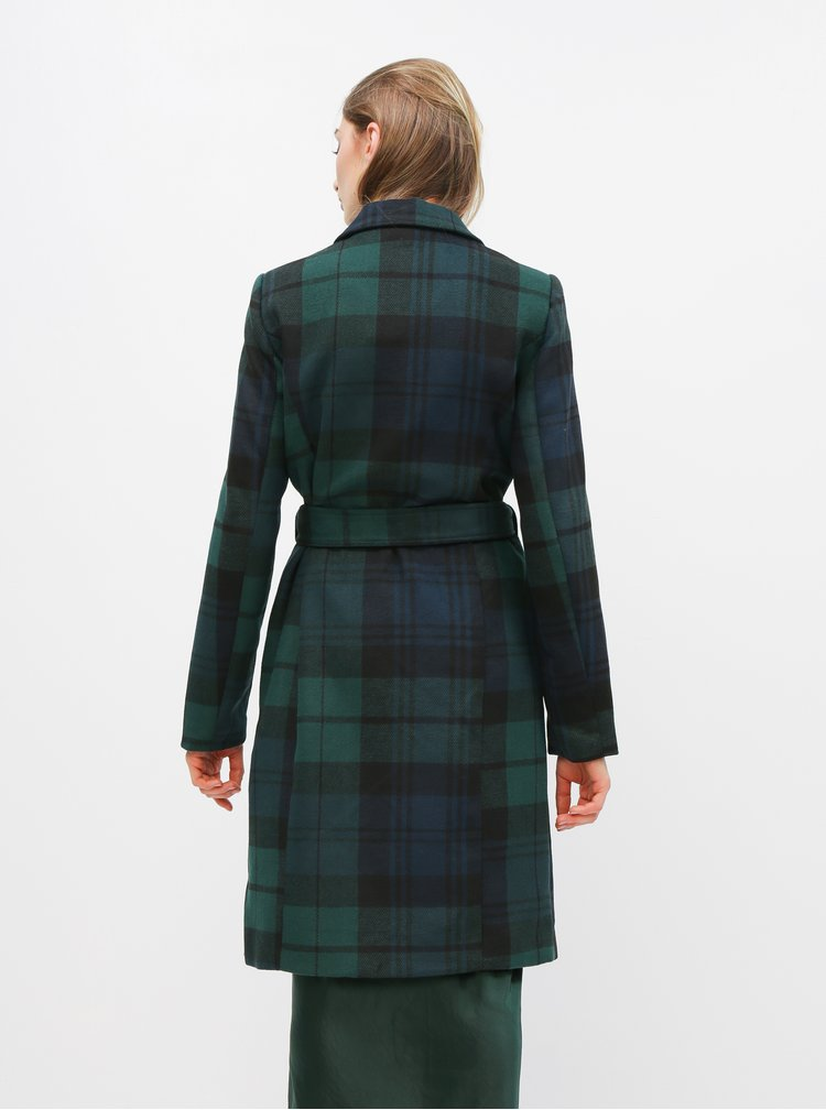 Tmavě zelený kostkovaný kabát VERO MODA Cindy