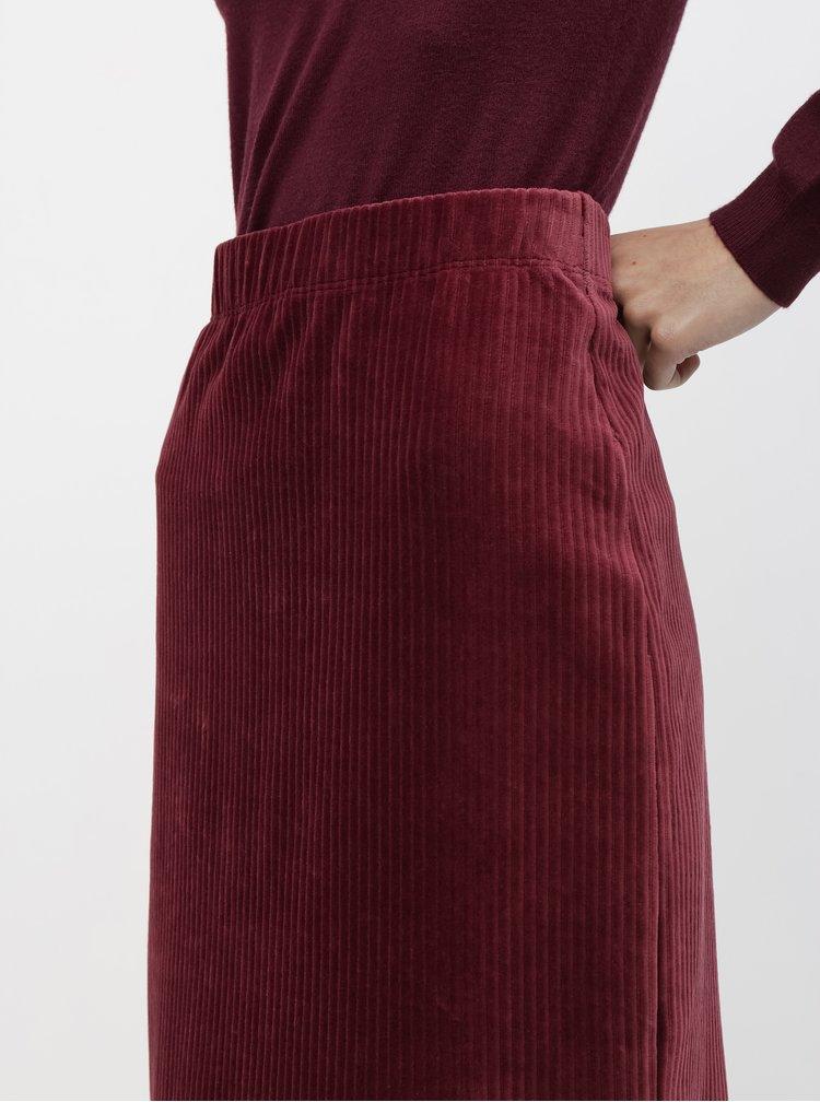 Vínová manšestrová sukně VERO MODA Amanda