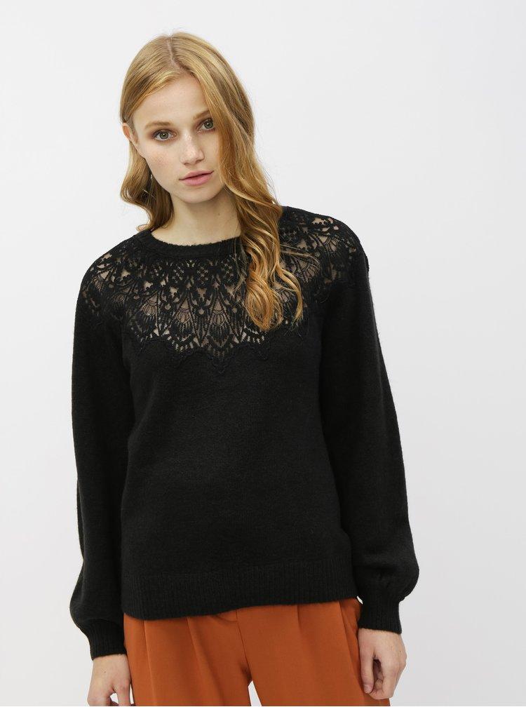 Čierny sveter s krajkou a balónovými rukávmi Dorothy Perkins