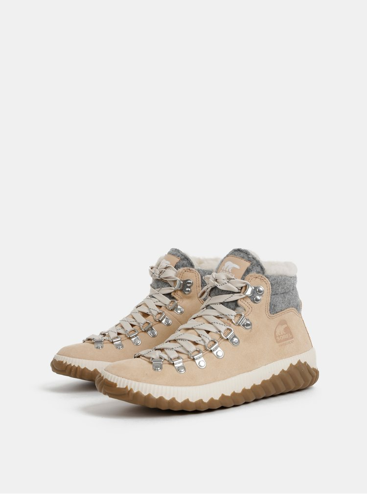 Béžové dámské semišové zimní nepromokavé boty SOREL Out N about