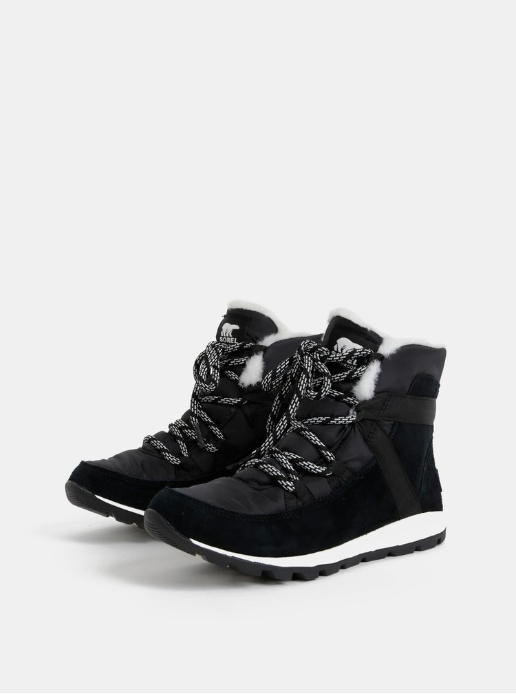 Černé dámské semišové zimní nepromokavé boty SOREL Whitney
