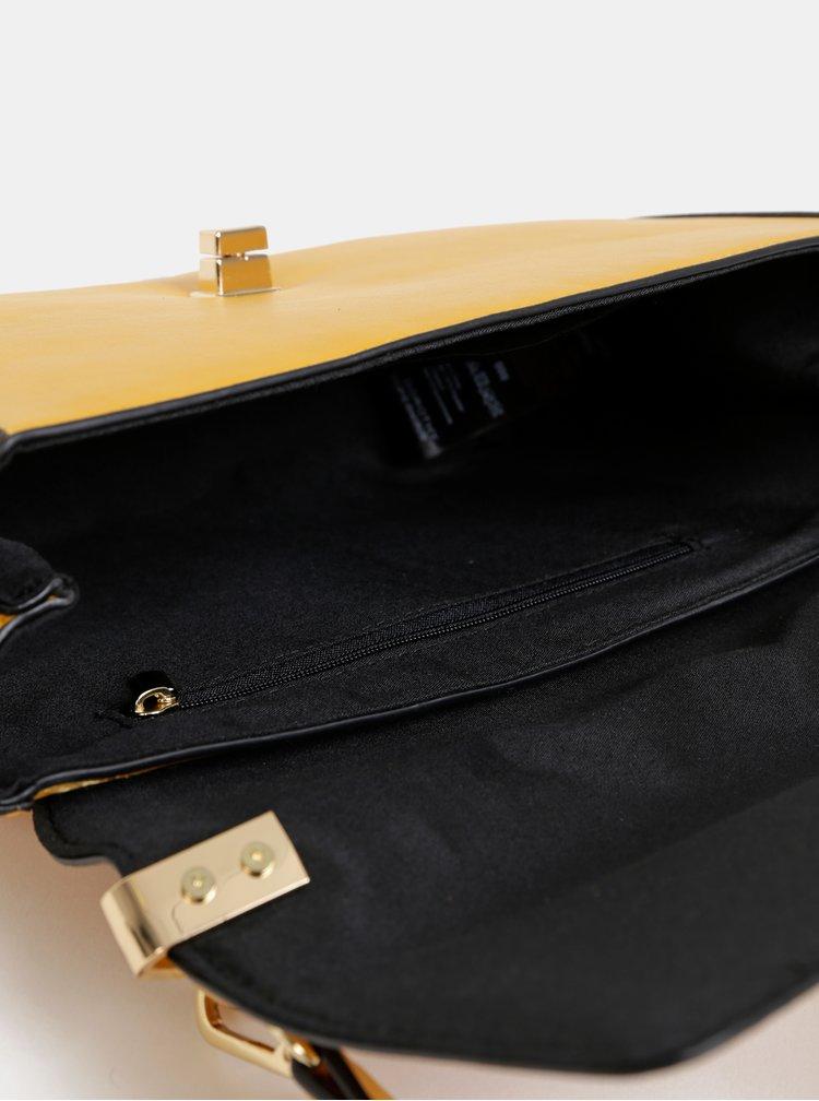 Hořčicová crossbody kabelka s detaily v semišové úpravě Dorothy Perkins