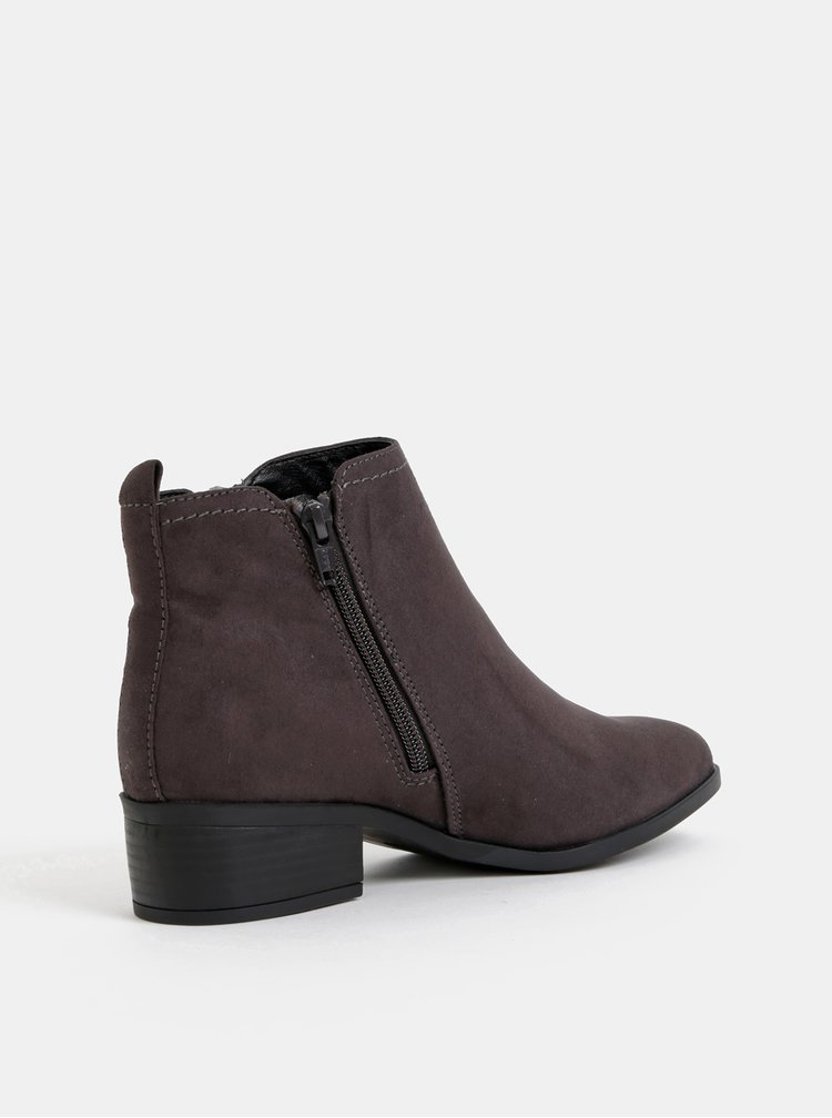 Tmavě šedé kotníkové boty v semišové úpravě Dorothy Perkins