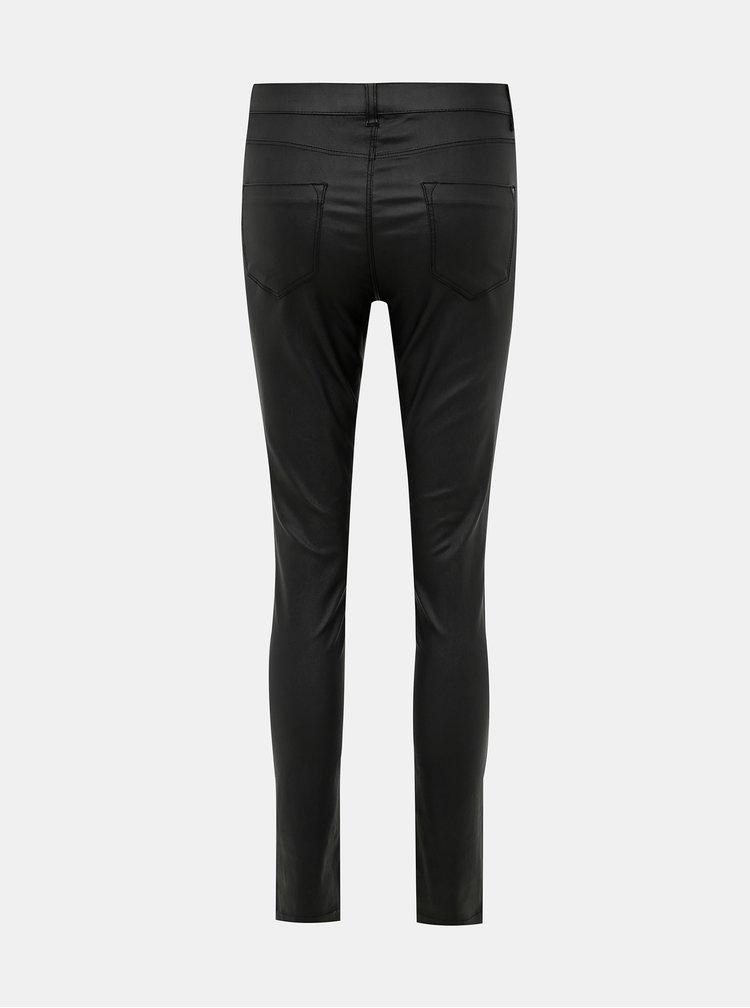 Černé koženkové super skinny fit kalhoty Dorothy Perkins