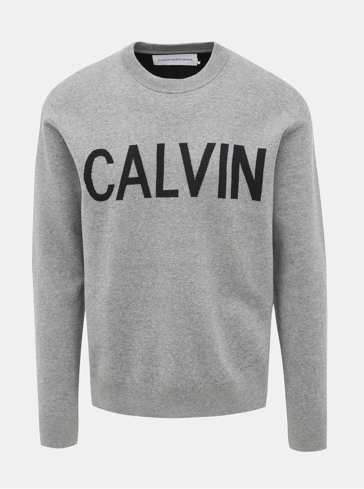 Šedý pánsky sveter Calvin Klein Jeans
