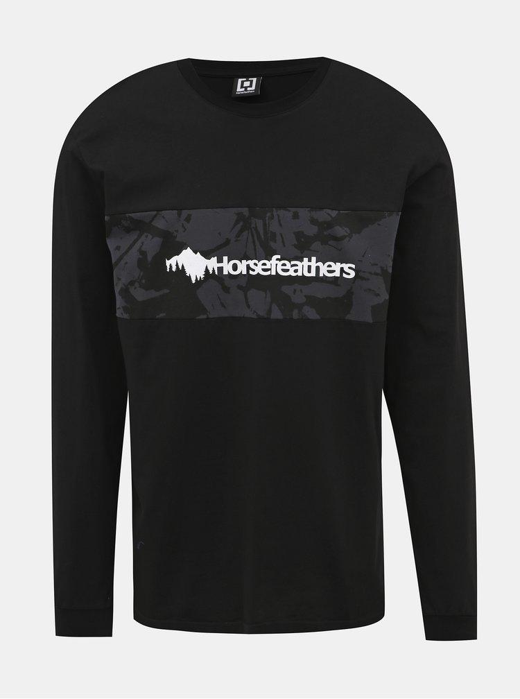 Čierne pánske tričko s potlačou Horsefeathers Kendall