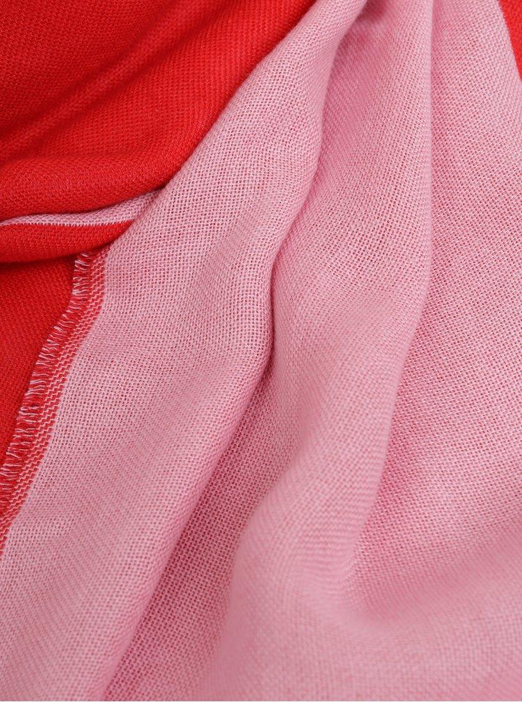 Červeno-růžový vzorovaný maxi šátek Calvin Klein Jeans
