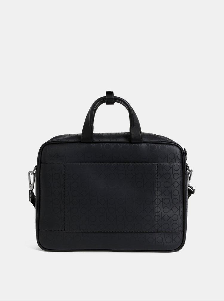 Černá vzorovaná taška na notebook Calvin Klein Jeans