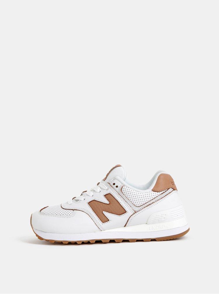 Biele dámske kožené tenisky New Balance 574