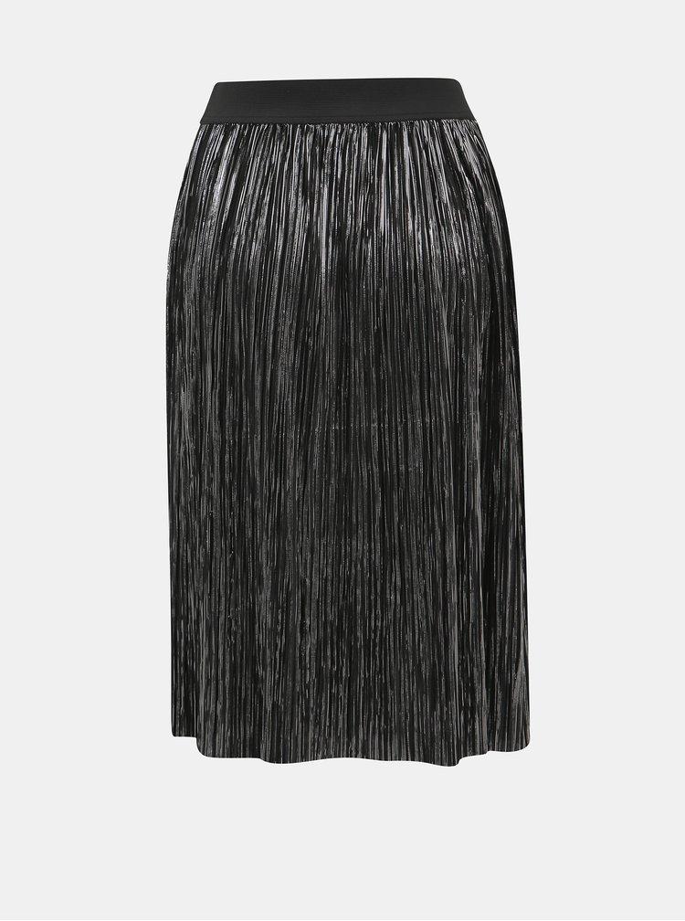Černá plisovaná sukně s odlesky ve stříbrné barvě Noisy May Kiss