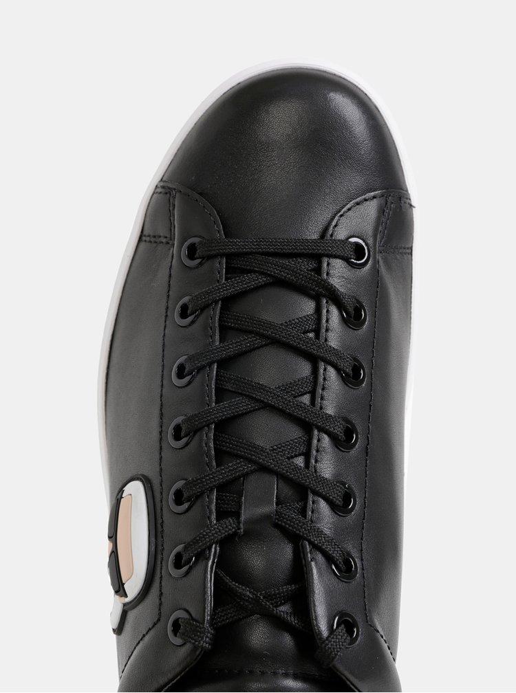 Čierne pánske kožené tenisky KARL LAGERFELD Kourt