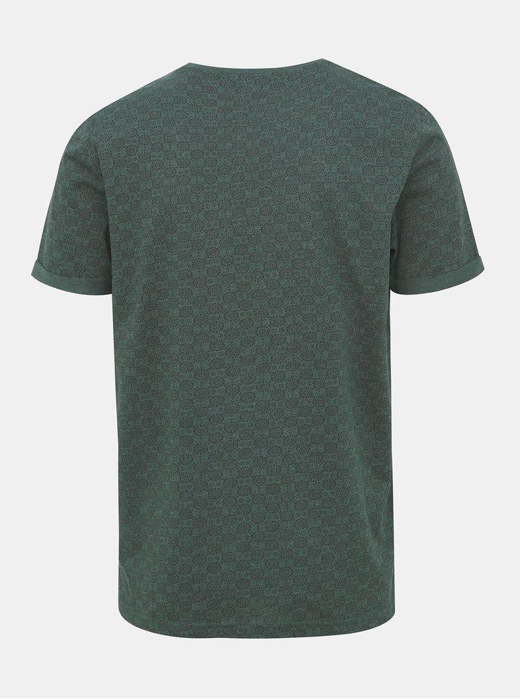 Tmavě zelené vzorované tričko ONLY & SONS Tituz
