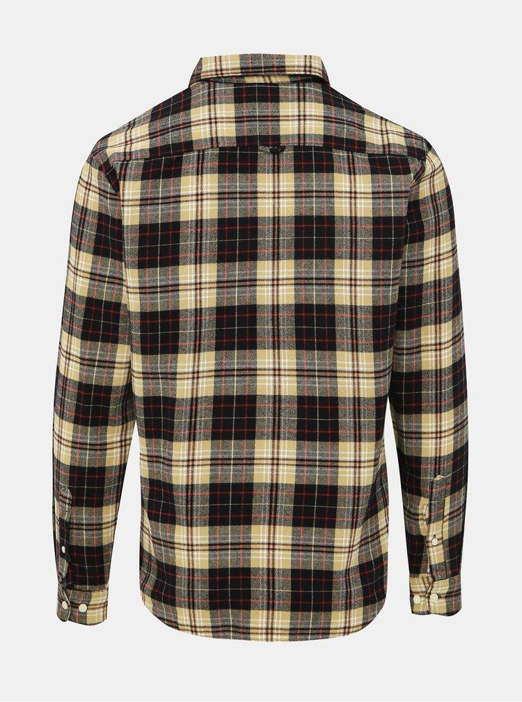 Čierno-béžová kockovaná slim fit košeľa Selected Homme Hansi