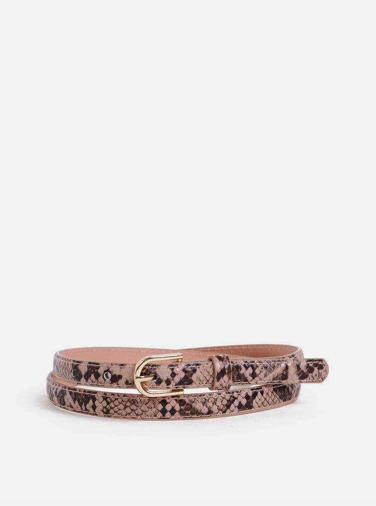 Sada dvoch dámskych opasov v čiernej a staroružovej farbe s hadím vzorom Haily´s Jamila