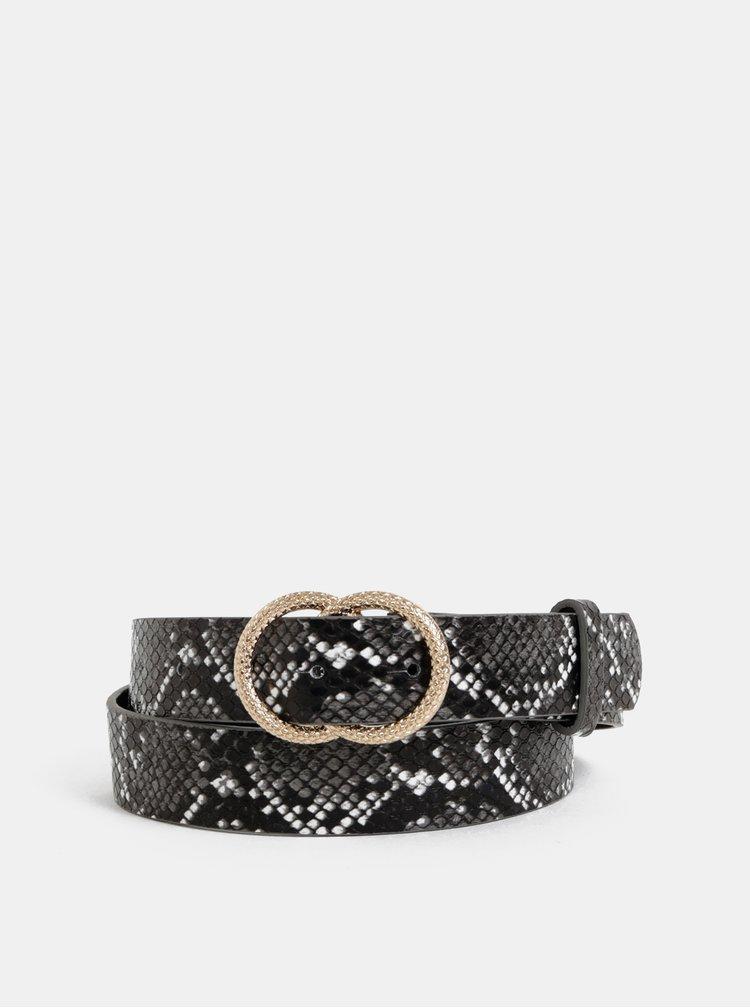 Tmavošedý dámsky kožený opasok s hadím vzorom Haily´s Sena