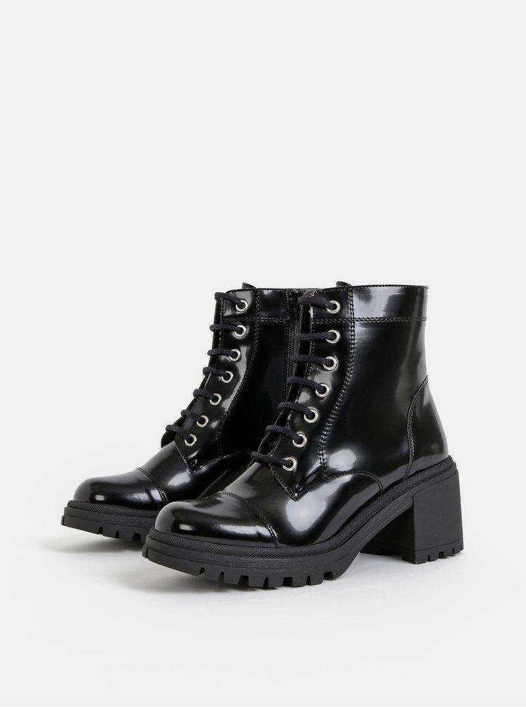 Černé lesklé kotníkové boty OJJU