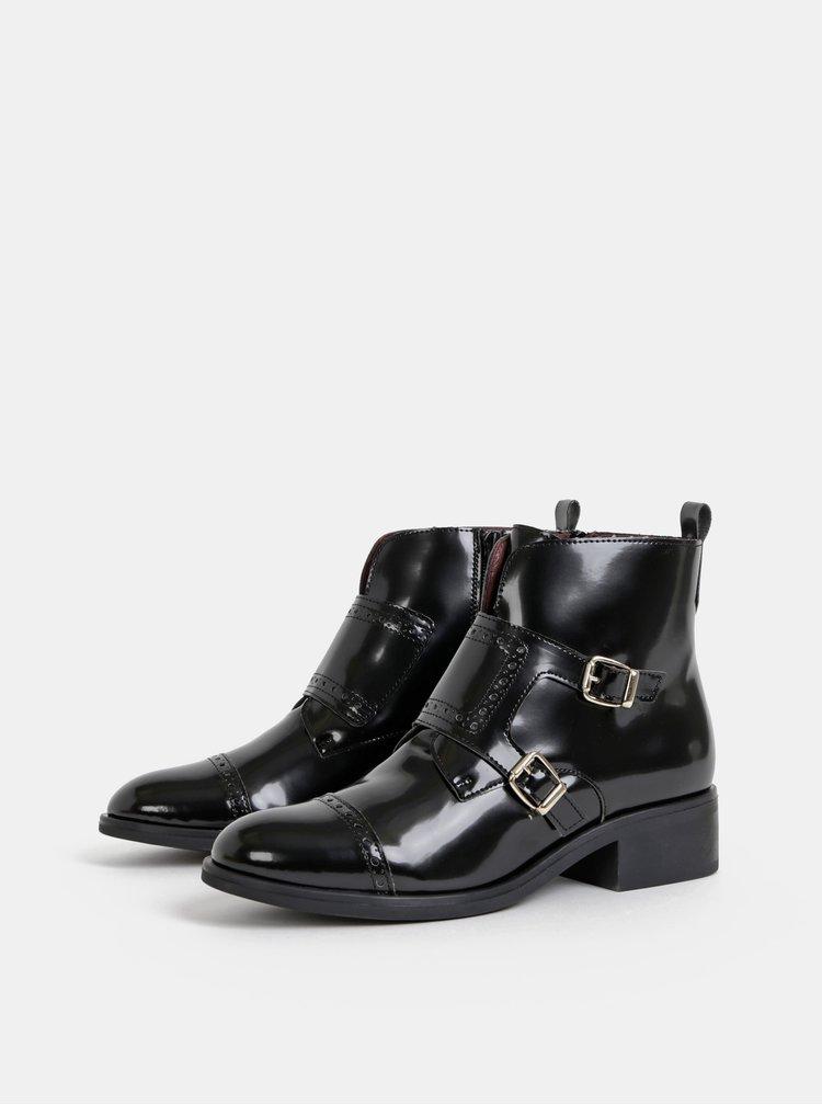 Černé kotníkové lesklé boty OJJU