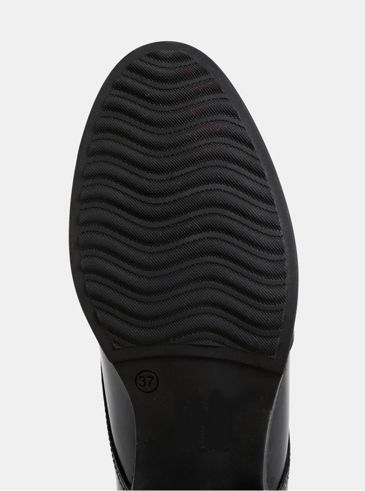 Čierne kožené brogue polobotky OJJU