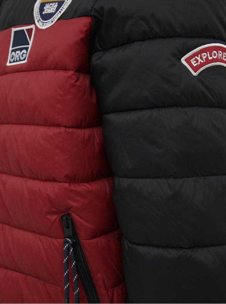 Červená prešívaná vodeodpudivá zimná bunda Jack & Jones Josh