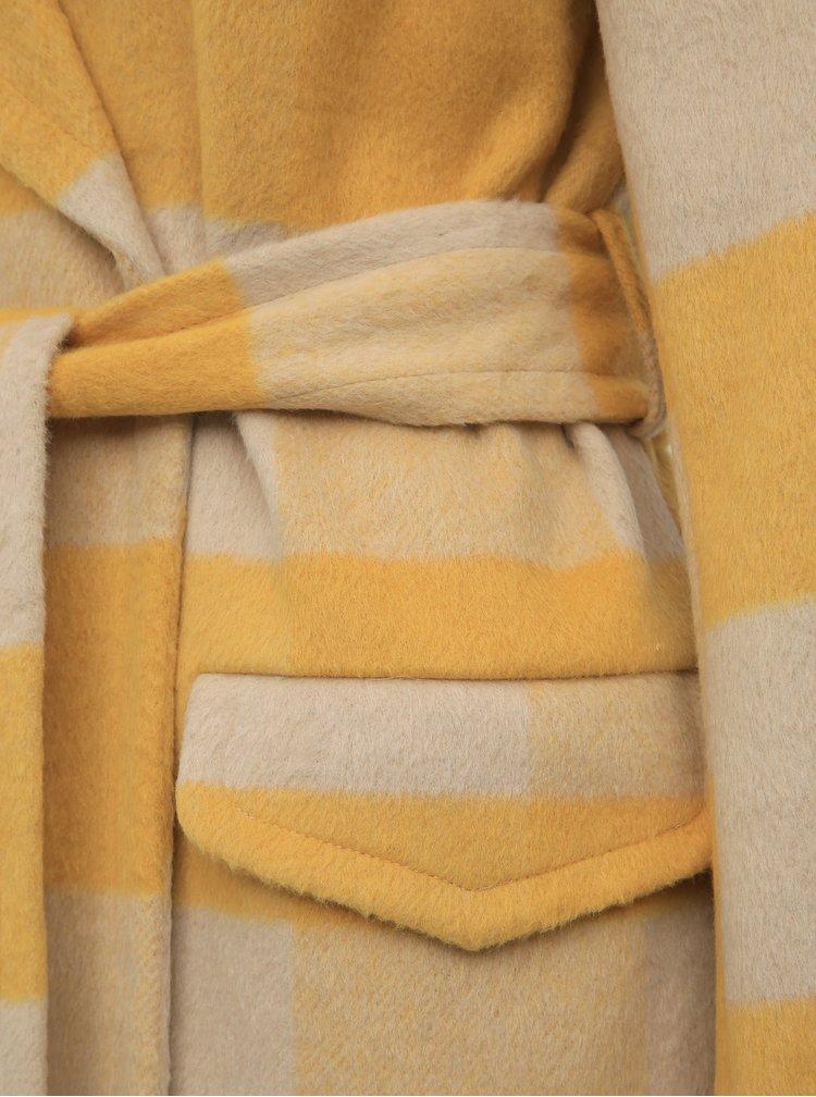 Žltý kockovaný kabát Miss Selfridge