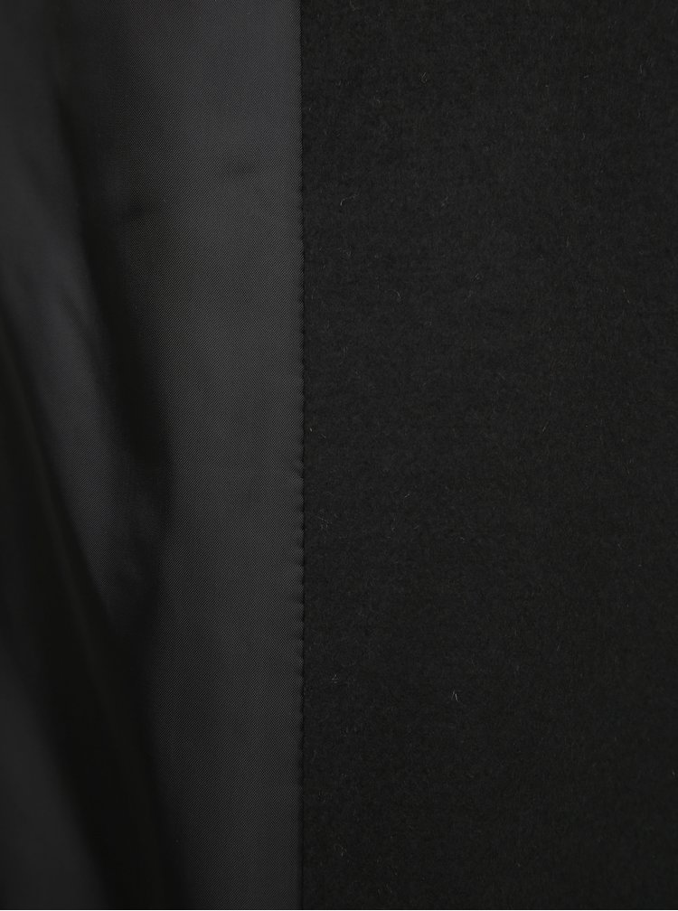 Čierny kabát s odnímateľným umelým kožúškom Miss Selfridge