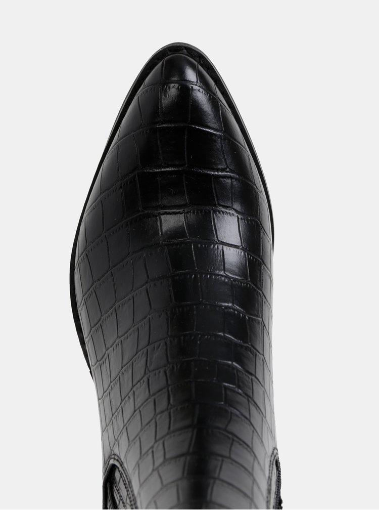 Čierne členkové topánky s krokodýlím vzorom VERO MODA Toa