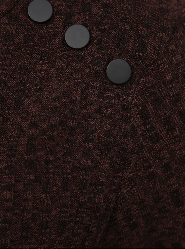Tmavě hnědý žebrovaný svetr VERO MODA Erika
