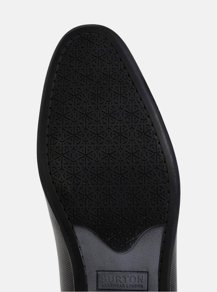 Černé pánské kožené polobotky Burton Menswear London