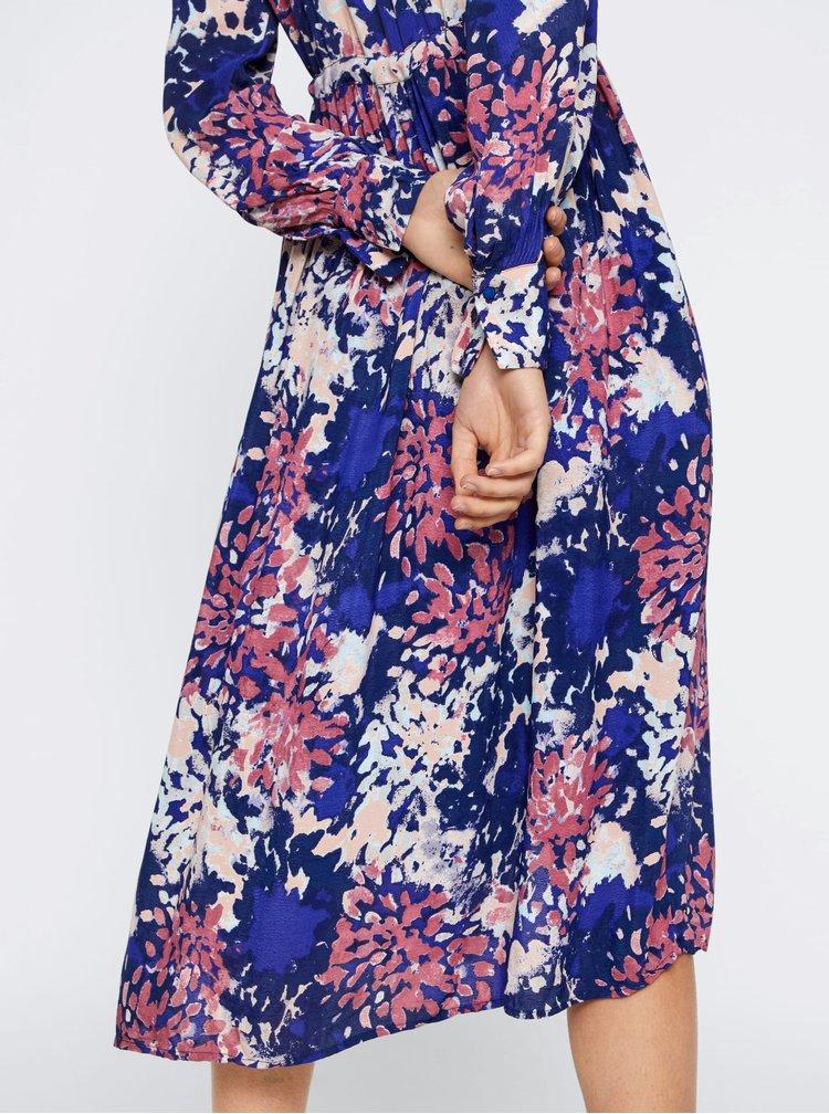 Ružovo-modré vzorované košeľové maxišaty VERO MODA Istanbul