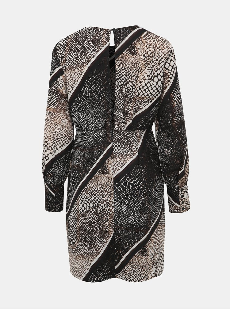 Béžové šaty s hadím vzorem a průstřihem na zádech VERO MODA Solde