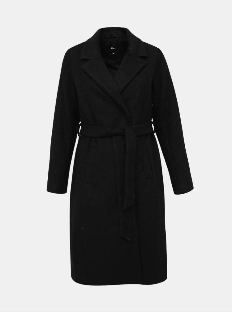 Čierny kabát s prímesou vlny Zizzi Yolanda
