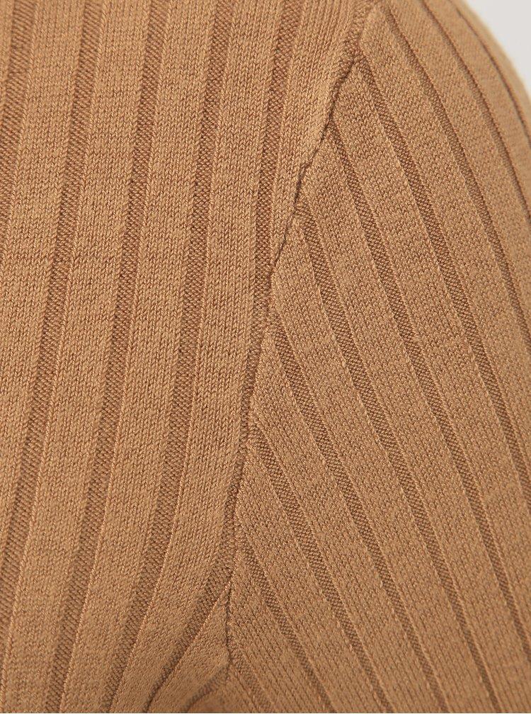 Hnedé svetrové midišaty VERO MODA Timiglory