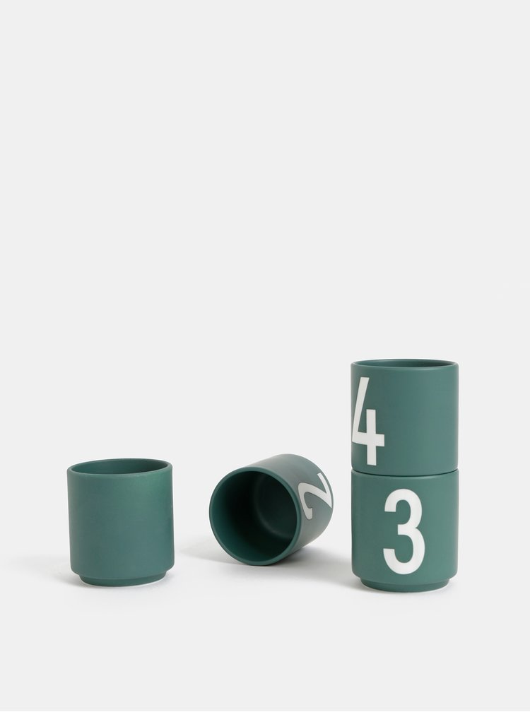 Tmavě zelené hrnečky na espresso Design Letters