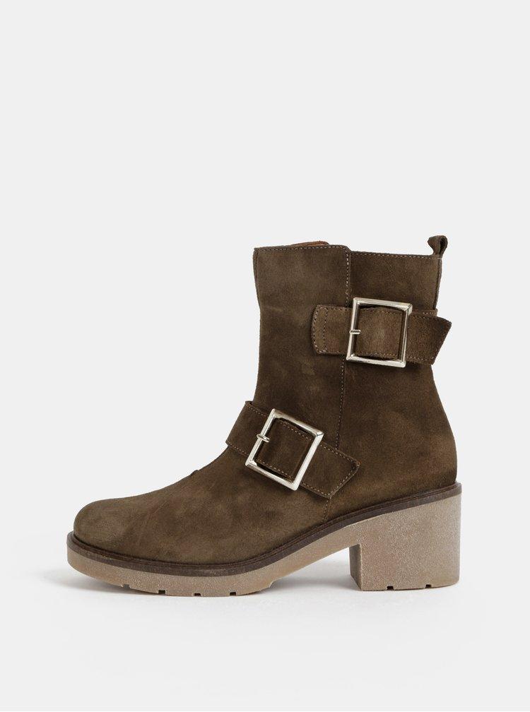 Hnedé semišové kotníkové topánky OJJU