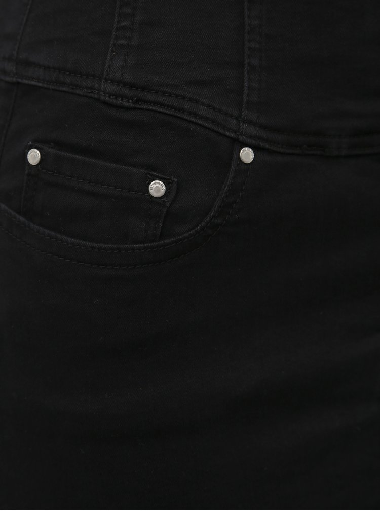 Čierna púzdrová rifľová sukňa s vysokým pásom TALLY WEiJL