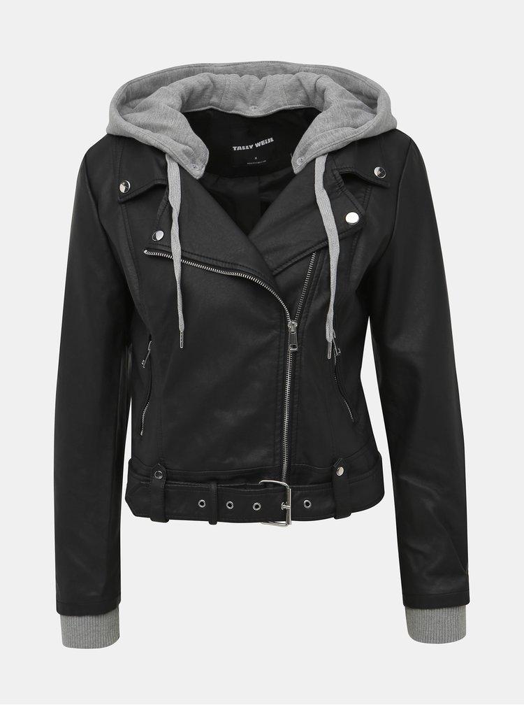 Čierna koženková bunda s odnímateľnou kapucou TALLY WEiJL