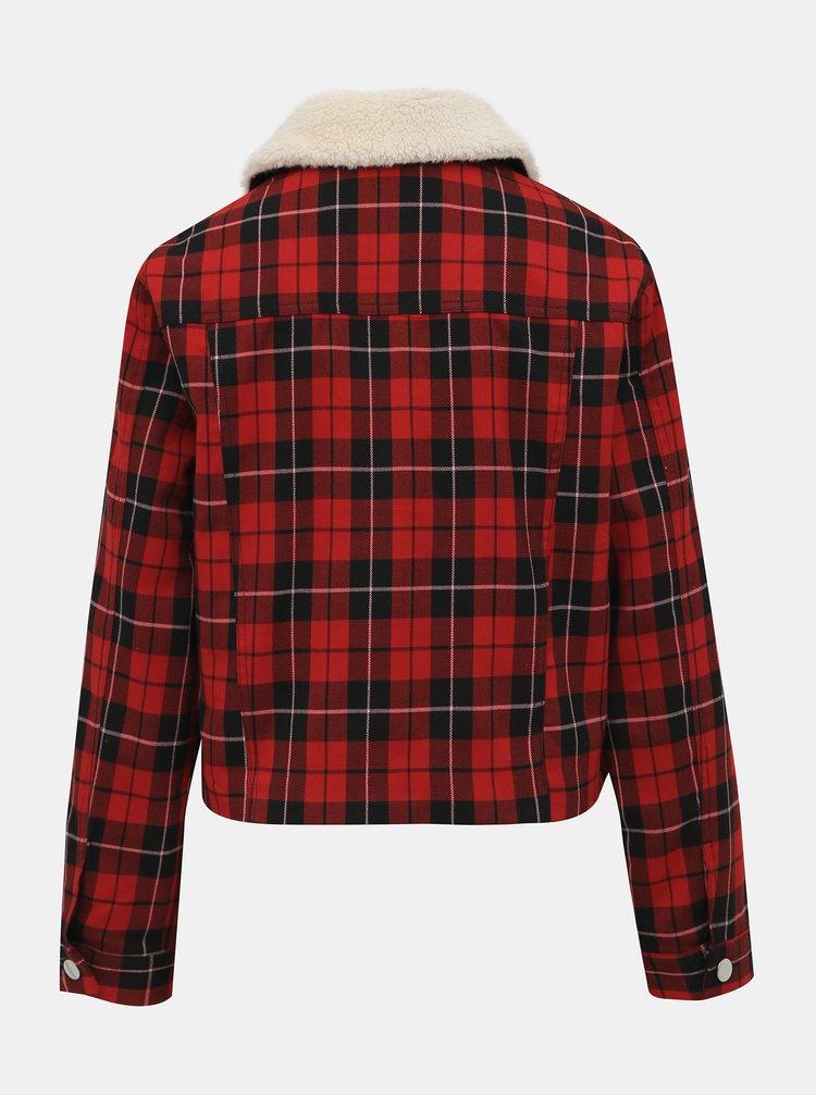 Červená kocková ľahká bunda s umelým kožúškom TALLY WEiJL