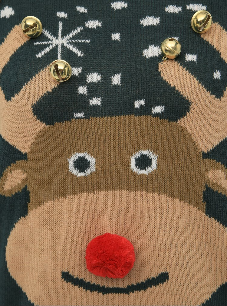 Tmavozelený sveter s vianočným motívom a roľničkami VERO MODA Bell