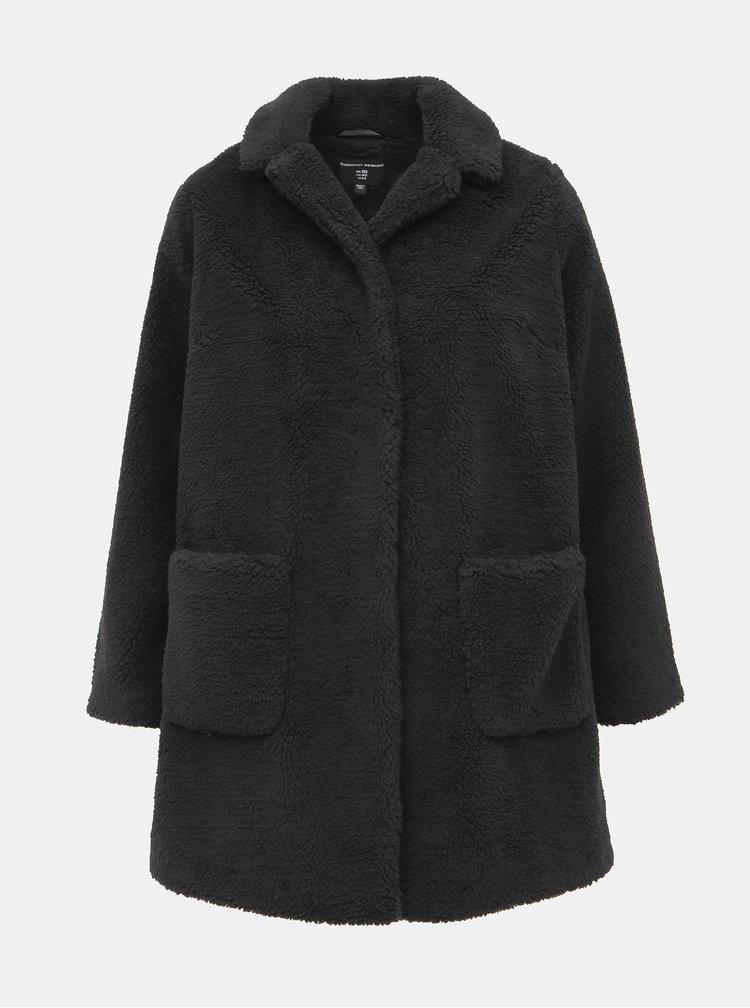 Černý kabát z umělého kožíšku Dorothy Perkins Curve