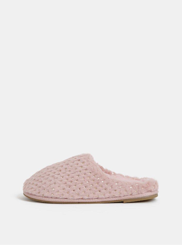 Růžové puntíkované pantofle VERO MODA Cedina