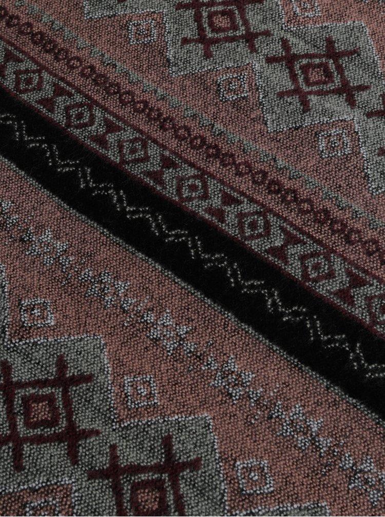 Šedo-ružový vzorovaný šál VERO MODA Nille