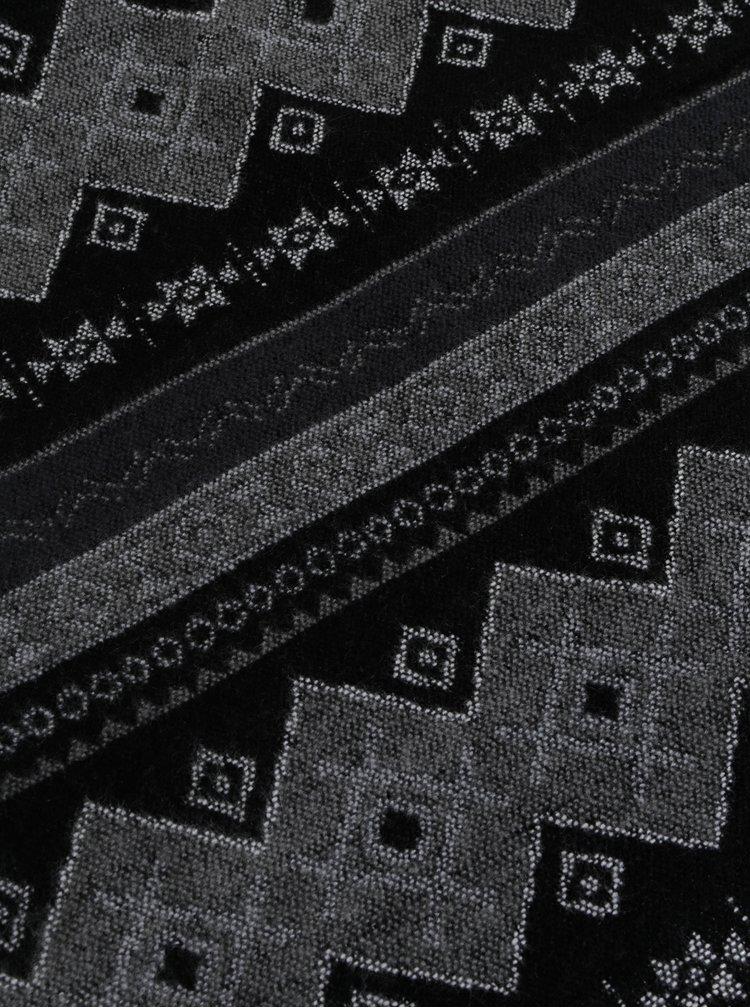 Černo-šedá vzorovaná šála VERO MODA Nille