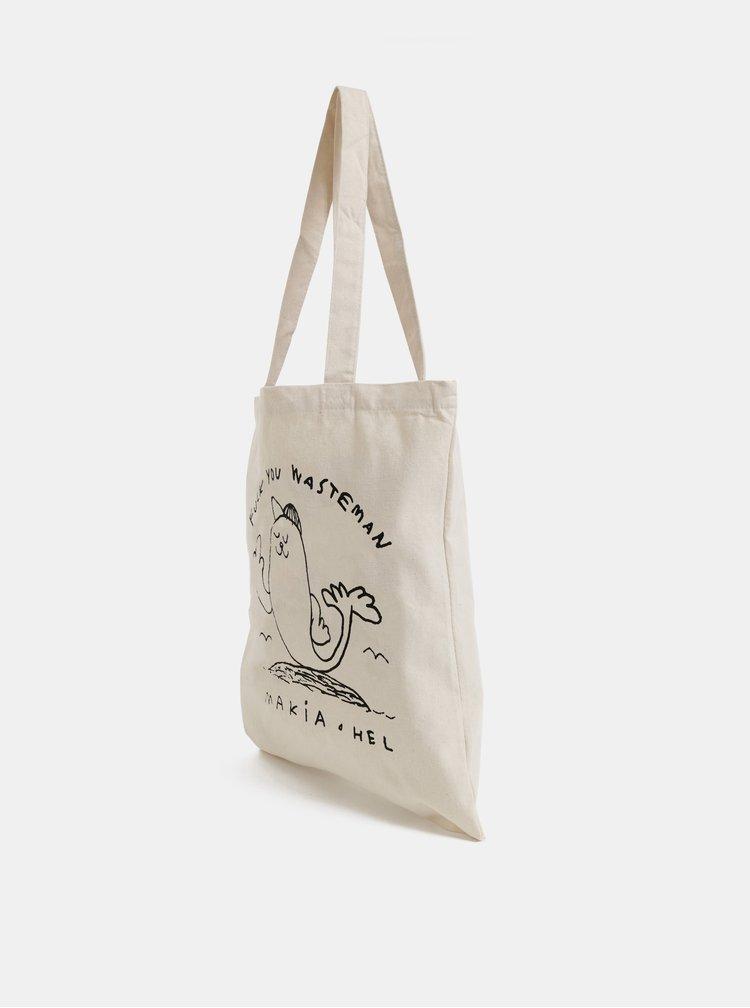 Krémová plátěná taška s potiskem Makia Seal