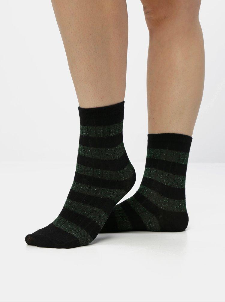 Zeleno-černé pruhované třpytivé ponožky VERO MODA Greta